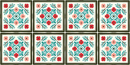 Motif Talavera. Azulejos portugal. Ornement turc. Mosaïque de carreaux marocains. Porcelaine espagnole. Vaisselle en céramique, imprimé folklorique. poterie espagnole. L'origine ethnique. Fond d'écran méditerranéen sans couture.