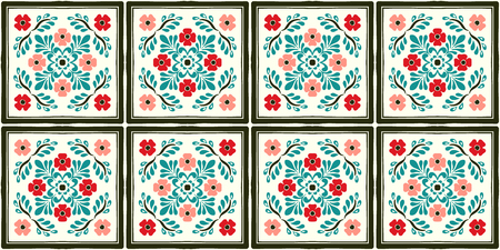 Talavera pattern. Azulejos portugal. Turkish ornament. Moroccan tile mosaic. Spanish porcelain. Ceramic tableware, folk print. Spanish pottery. Ethnic background. Mediterranean seamless wallpaper. Stockfoto - 114681239