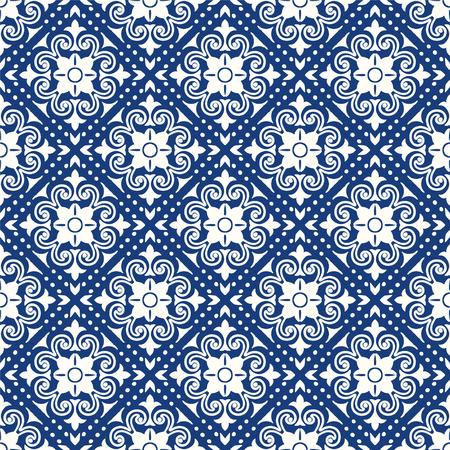Patrón de talavera. Patchwork indio. Azulejos portugal. Adorno turco. Mosaico de azulejos marroquíes. Vajilla de cerámica, estampado popular. Cerámica española. Origen étnico. Papel tapiz sin costuras mediterráneo. Ilustración de vector