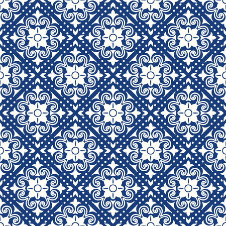 Talavera pattern.  Indian patchwork. Azulejos portugal. Turkish ornament. Moroccan tile mosaic. Ceramic tableware, folk print. Spanish pottery. Ethnic background. Mediterranean seamless  wallpaper. Иллюстрация