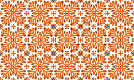 Ornement vectoriel traditionnel dans un style scandinave. Fleurs et plantes stylisées. Mosaïque de carreaux marocains. Impression folklorique turque. poterie espagnole. L'origine ethnique. Fond d'écran méditerranéen sans couture.
