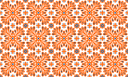 Traditional vector ornament in Scandinavian style. Stylized flowers and plants.  Moroccan tile mosaic. Turkish folk print. Spanish pottery. Ethnic background. Mediterranean seamless  wallpaper. Vettoriali
