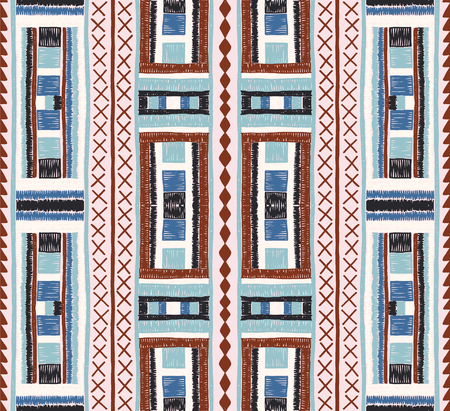 Ethnic strip. Tribal vector ornament. Seamless African pattern. Carpet with chevrons. Aztec style. Geometric mosaic on the tile. Ancient interior. Modern rug. Geo print on textile. Kente Cloth Stock Illustratie