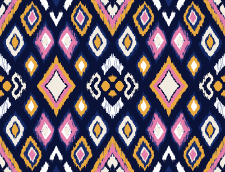 Ikat geometric folklore ornament with diamonds. Tribal ethnic vector texture. Seamless striped pattern in Aztec style. Folk embroidery. Indian, Scandinavian, Gypsy, Mexican, African rug. Vector Illustratie