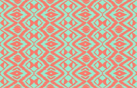 Ikat seamless pattern. Vector tie dye shibori print with stripes and chevron. Ink textured japanese background. Ethnic fabric vector. Bohemian fashion. Endless watercolor texture. African rug. Vectores