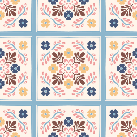 Talavera pattern. Azulejos portugal. Turkish ornament. Moroccan tile mosaic. Spanish porcelain. Ceramic tableware, folk print. Spanish pottery. Ethnic background. Mediterranean seamless wallpaper. Ilustração