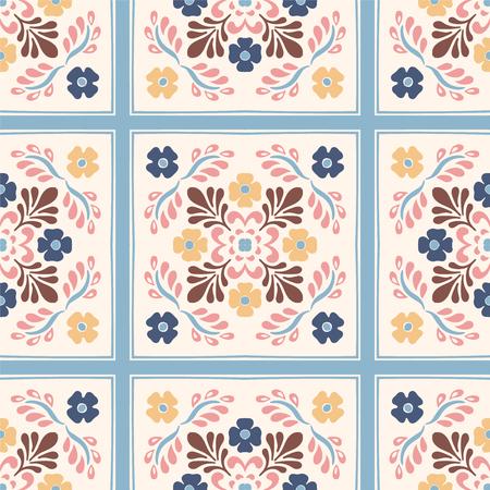 Talavera pattern. Azulejos portugal. Turkish ornament. Moroccan tile mosaic. Spanish porcelain. Ceramic tableware, folk print. Spanish pottery. Ethnic background. Mediterranean seamless wallpaper. Banco de Imagens - 116463804