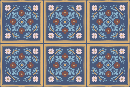 Talavera pattern. Azulejos portugal. Turkish ornament. Moroccan tile mosaic. Spanish porcelain. Ceramic tableware, folk print. Spanish pottery. Ethnic background. Mediterranean seamless wallpaper. Banco de Imagens - 116463819