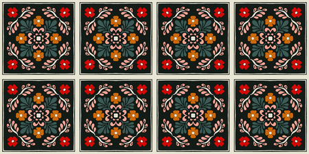 Talavera pattern. Azulejos portugal. Turkish ornament. Moroccan tile mosaic. Spanish porcelain. Ceramic tableware, folk print. Spanish pottery. Ethnic background. Mediterranean seamless wallpaper. Banco de Imagens - 116463844
