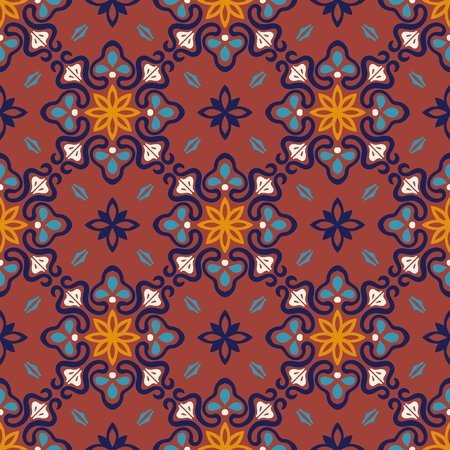 Talavera pattern. Azulejos portugal. Turkish ornament. Moroccan tile mosaic. Spanish porcelain. Ceramic tableware, folk print. Asian pottery. Ethnic background. Mediterranean seamless wallpaper.