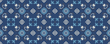 Talavera pattern.  Indian patchwork. Azulejos portugal. Turkish ornament. Moroccan tile mosaic. Ceramic tableware, folk print. Spanish pottery. Ethnic background. Mediterranean seamless  wallpaper. Banco de Imagens - 117028952