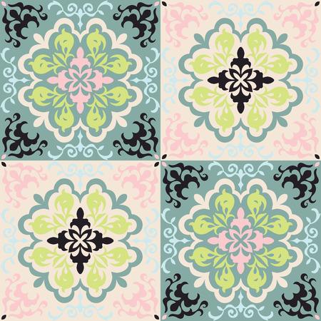 Mexican pottery Talavera. Portuguese tile azulejo. Damask floral background. Turkish ornament, Moroccan mosaic. Spanish porcelain. Ceramic dishes, folk print. Mediterranean wallpaper. Art Deco.