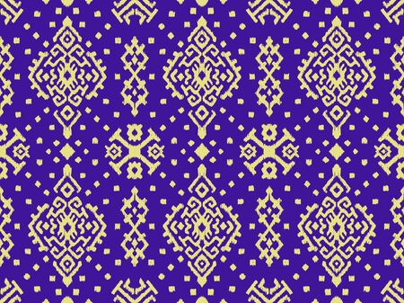Ikat geometric folklore ornament. Oriental vector damask pattern. Ancient art of Arabesque. Tribal ethnic texture. Spanish motif on the carpet. Aztec style. Indian rug. Gypsy, Mexican embroidery.O