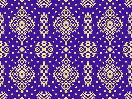 Ornamento del folclore geométrico Ikat. Patrón de damasco vector oriental. Arte antiguo del Arabesco. Textura étnica tribal. Motivo español en la alfombra. Estilo azteca. Alfombra india. Bordado gitano, mexicano. O