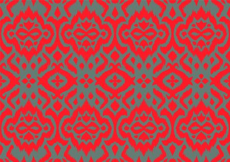 Lace border. Ikat seamless pattern. Vector tie dye shibori print with stripes and chevron. Ilustração
