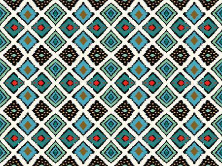 Ikat geometrische Folklore-Ornament mit Diamanten. Stammes-ethnische Vektortextur. Nahtloses Streifenmuster im aztekischen Stil. Volksstickerei. Indischer, skandinavischer, zigeunerischer, mexikanischer, afrikanischer Teppich.