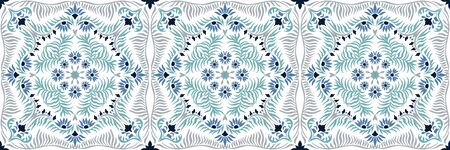 Bandana print. Womens shawl with floral pattern. Mediterranean wallpaper. Portuguese tile azulejo. Turkish ornament. Spanish porcelain. Ceramic dishes.