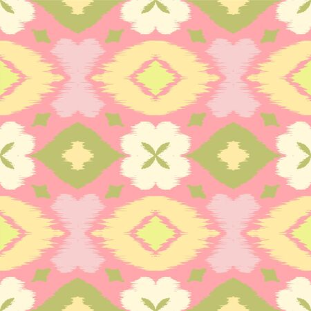 Ikat geometric folklore ornament with diamonds and flowers. African rug. Tribal ethnic vector texture. Seamless pattern in Aztec style. Folk embroidery. Indian batik. Mexican decor. Ilustração