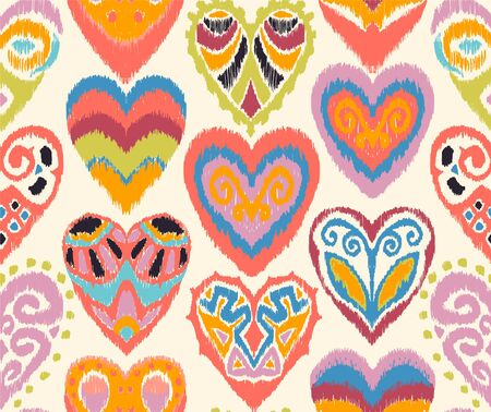 Valentines day. Seamless pattern with hearts. Ikat geometric folklore ornament. Oriental vector damask print. Ancient art of Arabesque. Tribal ethnic texture. Spanish motif on the carpet. Ilustração