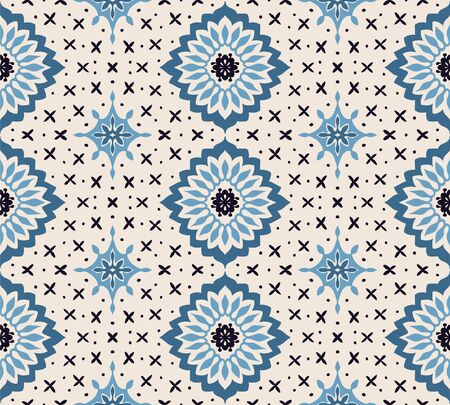 Talavera pattern. Azulejos portugal. Turkish ornament. Moroccan tile mosaic. Spanish porcelain. Ceramic tableware, folk print. Asian pottery. Ethnic background. Mediterranean wallpaper. Art Deco. Ilustração