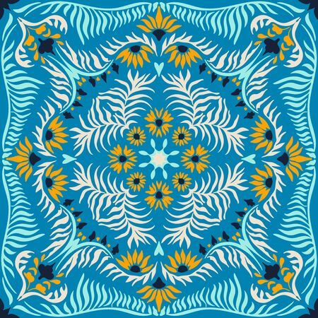 Bandanna print. Womens shawl with floral pattern. Mediterranean wallpaper. Portuguese tile azulejo. Turkish ornament. Spanish porcelain. Ceramic dishes.
