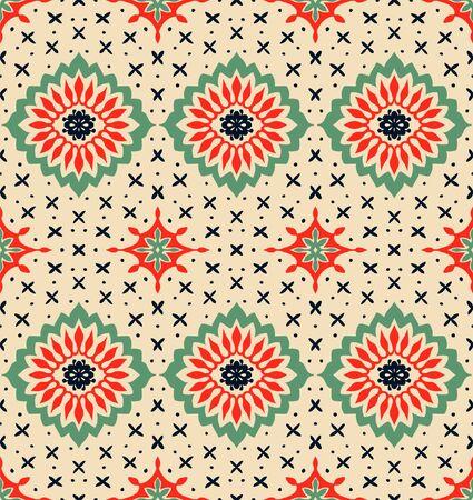 Talavera pattern. Azulejos portugal. Turkish ornament. Moroccan tile mosaic. Spanish porcelain. Ceramic tableware, folk print. Asian pottery. Illusztráció