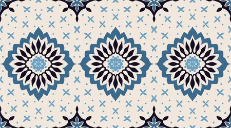 Talavera pattern. Azulejos portugal. Turkish ornament. Moroccan tile mosaic. Spanish porcelain. Ceramic tableware, folk print. Asian pottery. Ethnic background. Mediterranean wallpaper. Art Deco. Фото со стока - 129033168