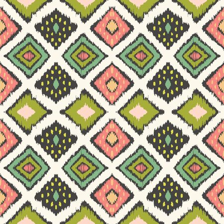 Ikat geometric folklore ornament with diamonds. Tribal ethnic vector texture. Seamless striped pattern in Aztec style. Folk embroidery. Indian, Scandinavian, Gypsy, Mexican, African rug. Фото со стока - 129033666