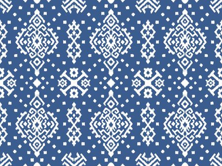 Ikat geometric folklore ornament. Oriental vector damask pattern. Ancient art of Arabesque. Tribal ethnic texture. Spanish motif on the carpet. Aztec style. Indian rug. Gypsy, Mexican embroidery. Фото со стока - 129106414