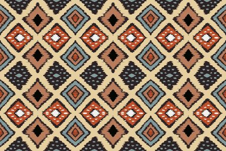 Ikat geometric folklore ornament with diamonds. Tribal ethnic vector texture. Seamless striped pattern in Aztec style. Folk embroidery.