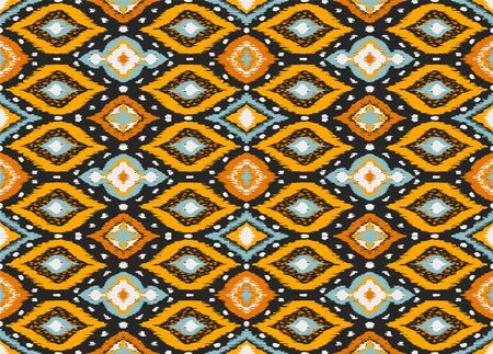 Ikat geometric folklore ornament with diamonds. Tribal ethnic vector texture. Seamless striped pattern in Aztec style. Folk embroidery. Indian, Scandinavian, Gypsy, Mexican, African rug. Фото со стока - 129189316