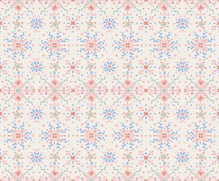 Seamless floral pattern folk colorful flowers and leaves. Flower embroidery.