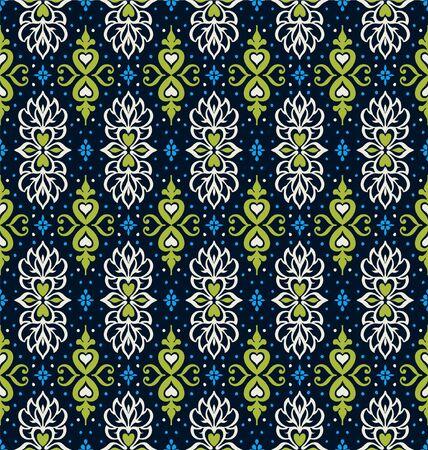 Talavera pattern. Azulejos portugal. Turkish ornament. Moroccan tile mosaic. Spanish porcelain. Ceramic tableware, folk print. Asian pottery.  イラスト・ベクター素材