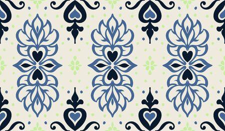 Talavera pattern. Azulejos portugal. Turkish ornament. Moroccan tile mosaic. Spanish porcelain. Ceramic tableware, folk print. Asian pottery. Ethnic background. Mediterranean wallpaper. Art Deco. Illustration
