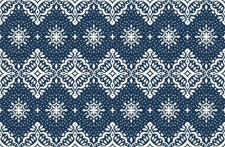Oriental vector damask pattern. Talavera pottery. Azulejos portugal. Turkish ornament. Spanish porcelain. Ceramic tableware, folk print. Ethnic background. Mediterranean wallpaper.  イラスト・ベクター素材