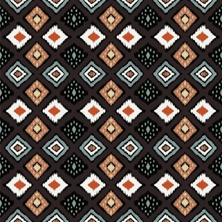Ikat geometric folklore ornament with diamonds. Tribal ethnic vector texture. Seamless striped pattern in Aztec style. Folk embroidery. Indian, Scandinavian, Gypsy, Mexican, African rug. Vektorové ilustrace