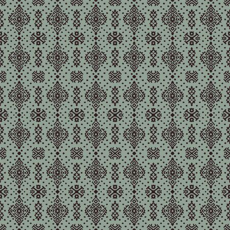 Ikat geometric folklore ornament. Oriental vector damask pattern. Ancient art of Arabesque. Tribal ethnic texture. Spanish motif on the carpet. Aztec style. Indian rug. Gypsy, Mexican embroidery.  イラスト・ベクター素材