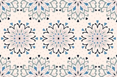 Seamless floral pattern. Stylized doodle flowers. Spanish ethnic embroidery. Folk ornament. Solar sign. Mediterranean print. Indian Oriental or Turkish textiles. Boho wallpaper. Hipster art.