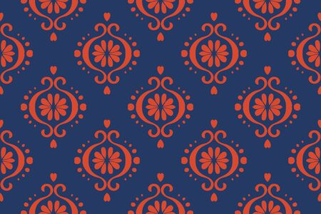 Ikat geometric folklore ornament. Oriental vector damask pattern. Ancient art of Arabesque. Tribal ethnic texture. Spanish motif on the carpet. Aztec style. Indian rug. Gypsy, Mexican embroidery.O  イラスト・ベクター素材