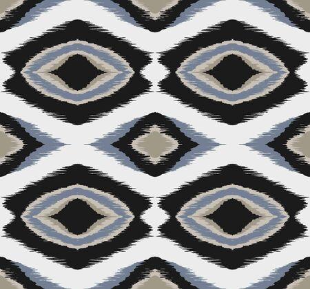 Ikat geometrisches Folklore-Ornament mit Diamanten. Stammes-ethnische Vektortextur.