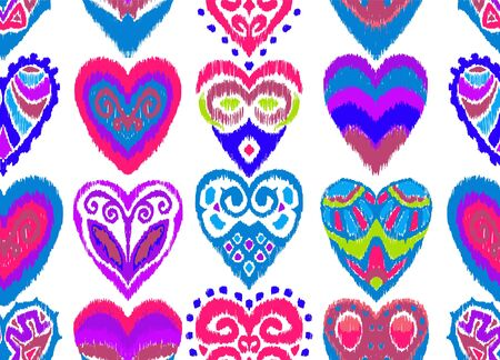 Valentine's day. Seamless pattern with hearts. Ikat geometric folklore ornament. Oriental vector damask print. Ancient art of Arabesque. Tribal ethnic texture. Spanish motif on the carpet.