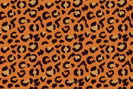 Leopard skin. Animal print. Texture with foil effect. Ikat geometric folklore ornament. Vector seamless pattern. Tribal ethnic texture. Векторная Иллюстрация