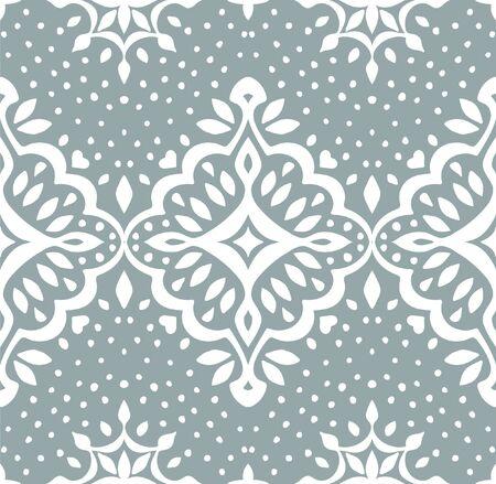 Oriental vector damask pattern. Talavera pottery. Azulejos portugal. Turkish ornament. Spanish porcelain. Ceramic tableware, folk print. Ethnic background. Mediterranean wallpaper.  Talavera pottery. Illustration