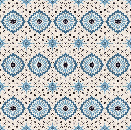 Talavera pattern. Azulejos portugal. Turkish ornament. Moroccan tile mosaic. Spanish porcelain. Ceramic tableware, folk print. Asian pottery. Ethnic background. Mediterranean wallpaper. Art Deco. Stockfoto - 130684737