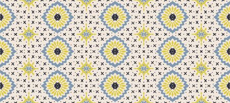 Talavera pattern. Azulejos portugal. Turkish ornament. Moroccan tile mosaic. Spanish porcelain. Ceramic tableware, folk print. Asian pottery. Ethnic background. Mediterranean wallpaper. Art Deco. Stockfoto - 130684842