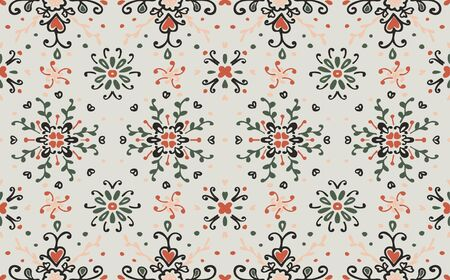 Seamless floral pattern folk colorful flowers and leaves. Flower embroidery. Talavera pattern. Indian patchwork. Turkish ornament. Spanish ethnic background. Mediterranean seamless wallpaper. Stockfoto - 130684904