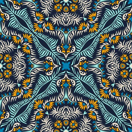 Bandana print. Women's shawl with floral pattern. Mediterranean wallpaper. Portuguese tile azulejo. Turkish ornament. Spanish porcelain. Ceramic dishes. Stockfoto - 130684914