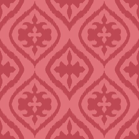 Ikat geometric folklore ornament with diamonds. Damask rug. Tribal ethnic vector texture. Persian geo print. Seamless pattern in Aztec style. Folk embroidery. Gypsy, Mexican, African print. Stok Fotoğraf - 130684927