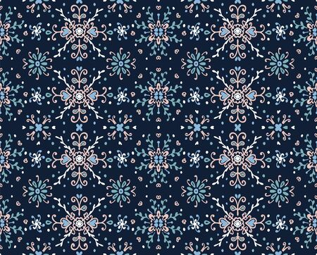 Seamless floral pattern folk colorful flowers and leaves. Flower embroidery. Talavera pattern. Indian patchwork. Turkish ornament. Spanish ethnic background. Mediterranean seamless wallpaper. Stok Fotoğraf - 130684935