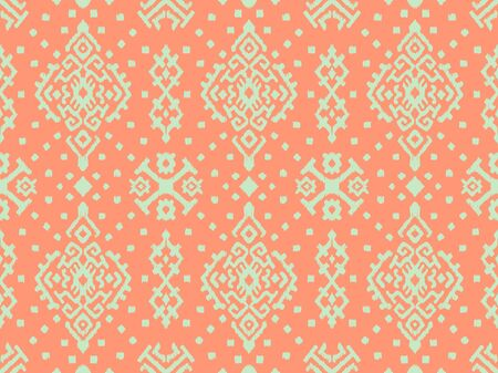Ikat geometric folklore ornament. Oriental vector damask pattern. Ancient art of Arabesque. Tribal ethnic texture. Spanish motif on the carpet. Aztec style. Indian rug. Gypsy, Mexican embroidery. Stock Illustratie